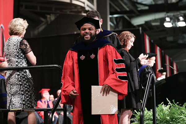 Biology PhD Graduate Kory Evans at Commencement