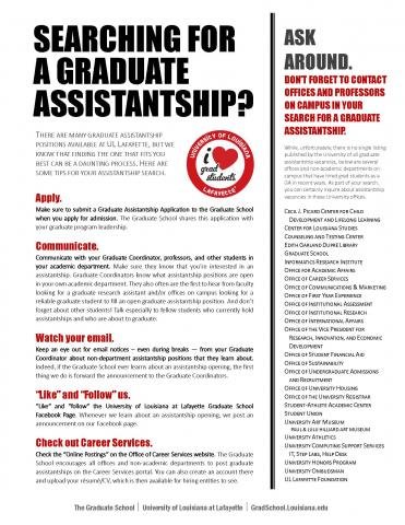 LINK: download the steps for finding a graduate assistantship